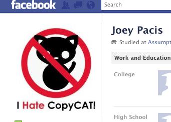 "Screen Shot of Joey Pacis Albert's Facebook Profile Picture ""I Hate CopyCAT!"""