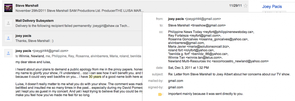 Screen Shot of Joey Pacis Albert's email response to Steve Marshall's first email with all the people she CC'd