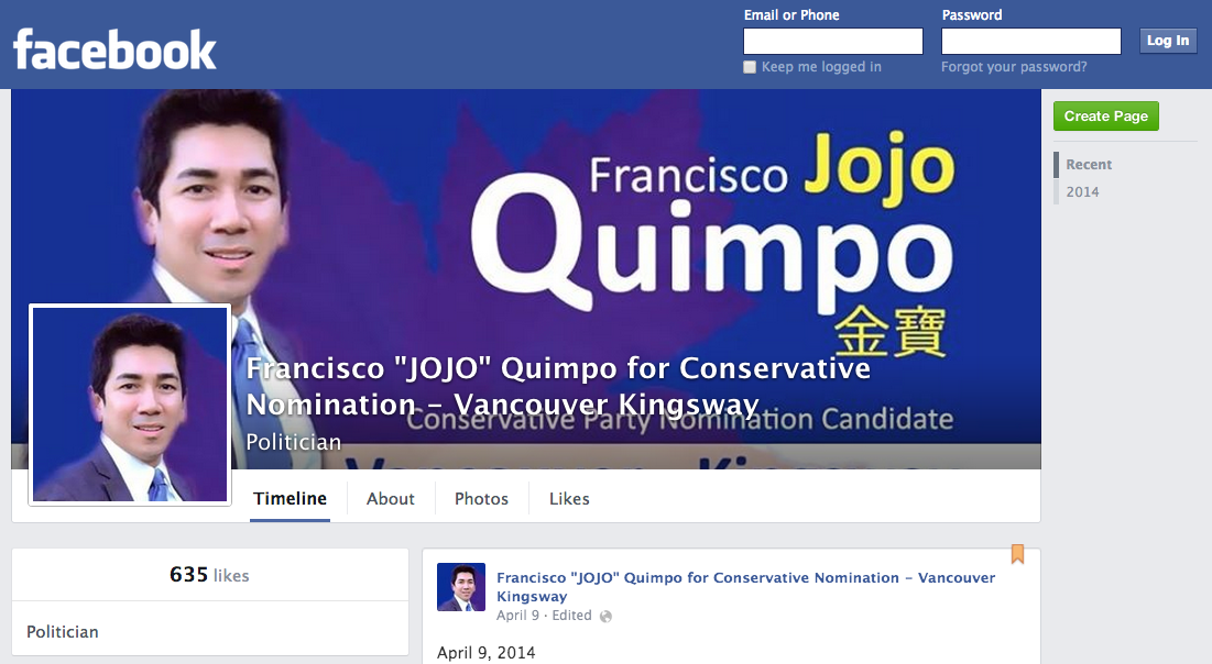 Francisco JOJO Quimpo for Conservative Nomination Vancouver Kingsway Facebook (Header)